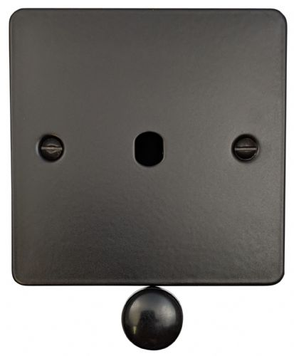 G&H FFB11-PK Flat Plate Matt Black 1 Gang Dimmer Plate Only inc Dimmer Knobs